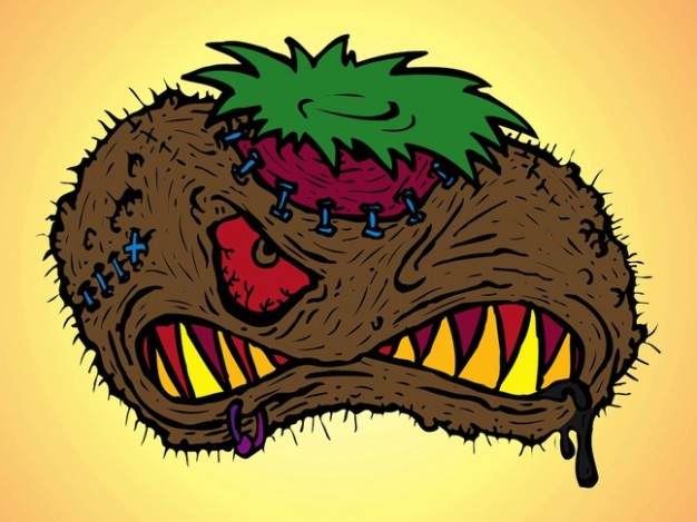 scary and angry monster halloween cartoon character