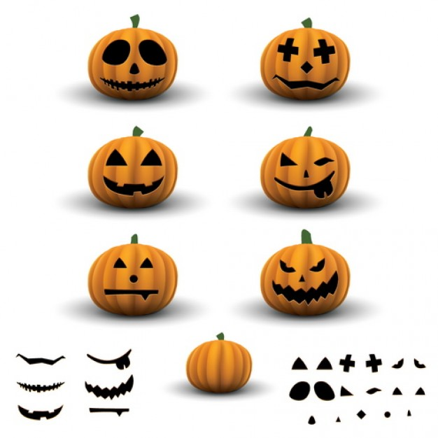 scary halloween pumpkins with different cute expression