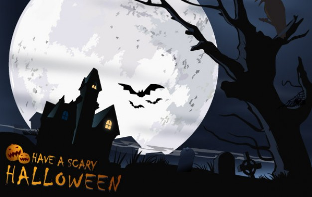 scary halloween with full moon and castle dead tree bat background
