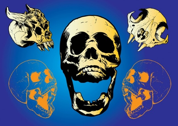 scary Monster skulls with blue background