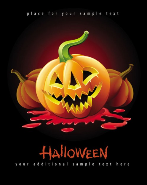 scary pumpkin over blood smudge for halloween poster