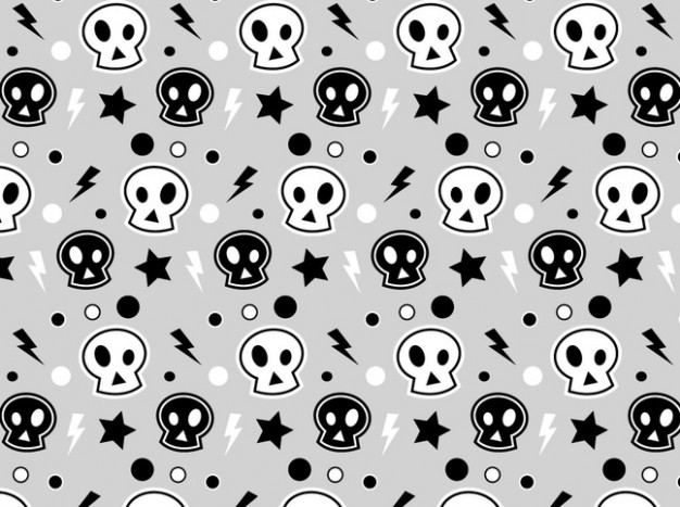Shopping pattern white Tattoo and black skulls bacground about Skull art