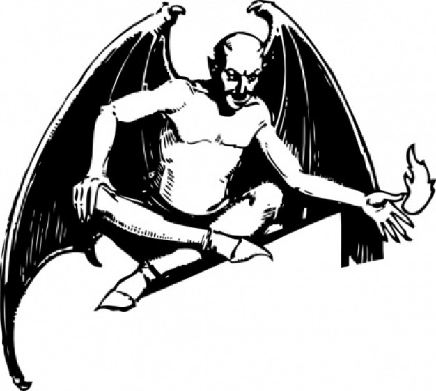 sitting devil with bat wings clip art in black and white