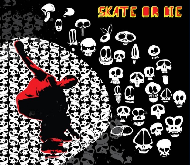 Skateboard skate Skateboarders or die with dark background about United States Arts