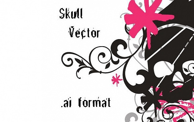 skull ai with flower and swirls background