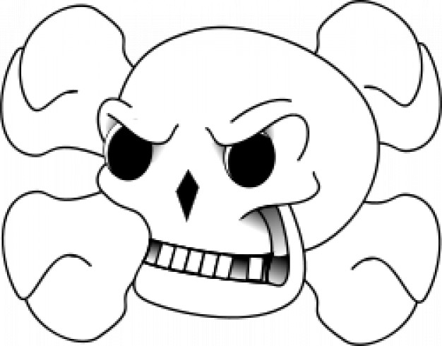 skull and bones with angry expression