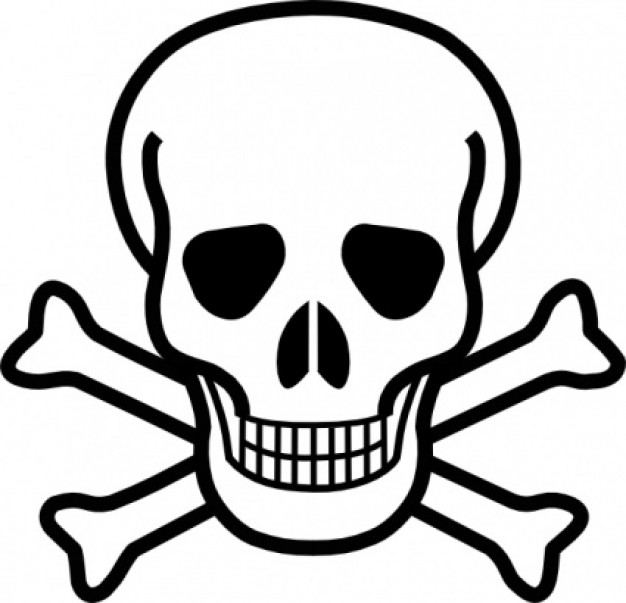 skull and crossbones clip art in black and white