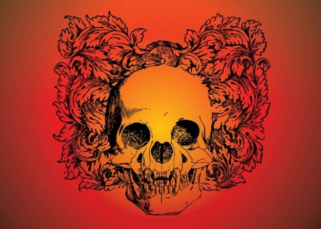 Skull download with orange and red background about Games 3D