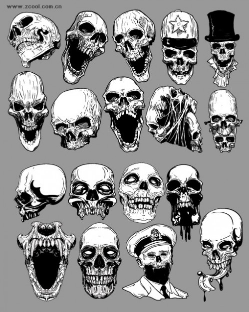 skull set of the trend of material in black and white