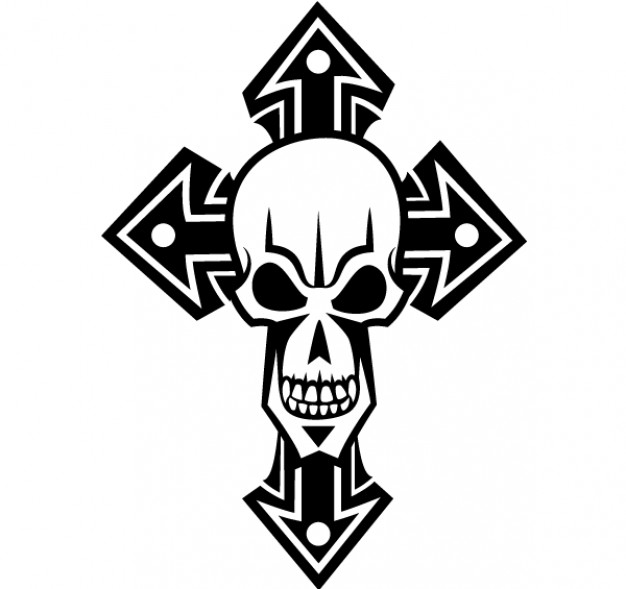 Skull Shopping cross art about tatoo logo design