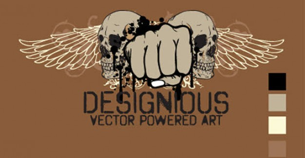 skull wings and fists with brown background for t-shirt design