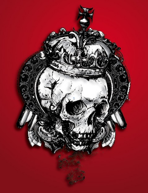 skull with crown with red blood background