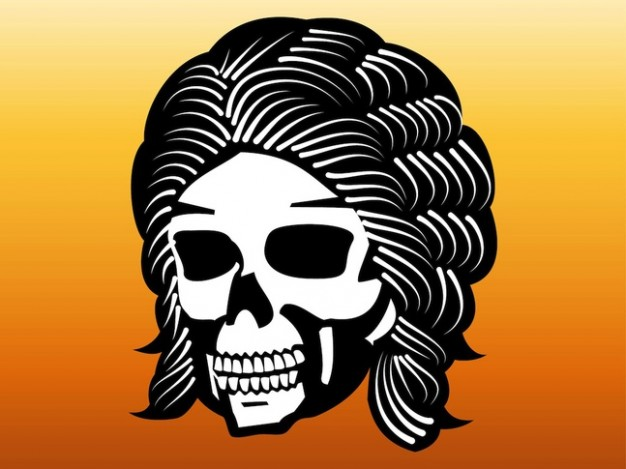 skull with long hair and orange background about skull art