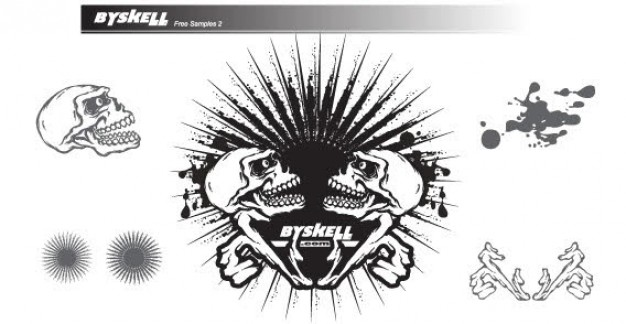 skull with sunburst with white background