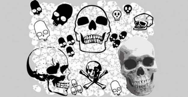 skulls clip art with grey background