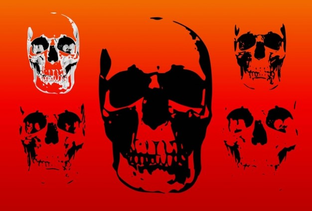 skulls in black and white on red background