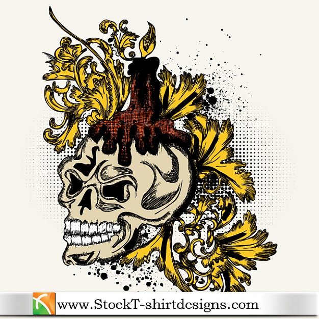 t-shirt design with golden floral skull and candle