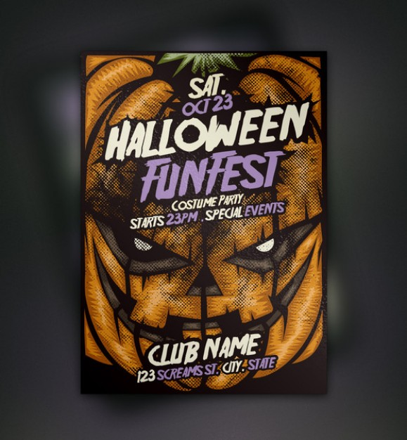 terrible pumpkin halloween flyer template with dark background