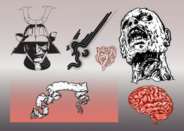 terror graphics pack like Zombie cerebrum with grey background
