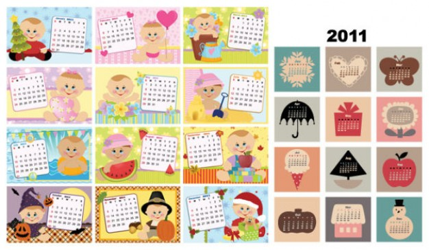 the lovely calendar template material with children food etc