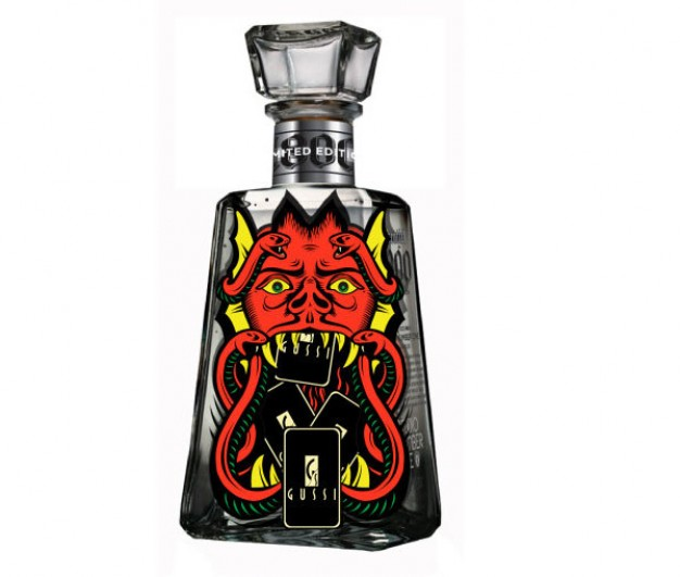 trend devil illustration with snake red bull head for bottle cover design