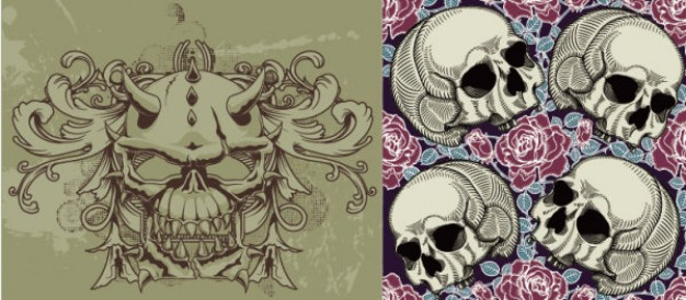 trend skull theme material with pink rose background