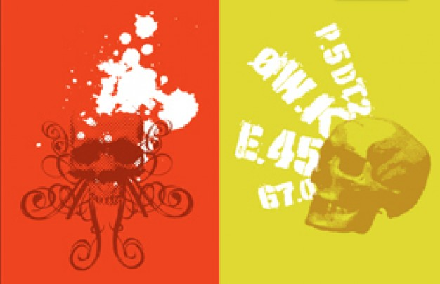 two style skulls with red and yellow background