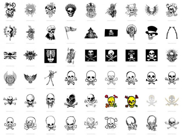 variety of skull collection with white background for T-shirt design