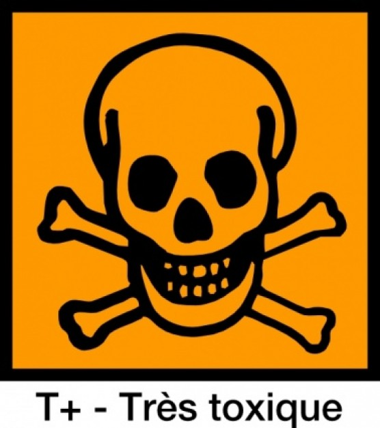 very toxic sign symbol with orange background clip art