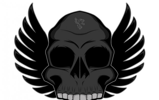 winged skull front view in dark grey