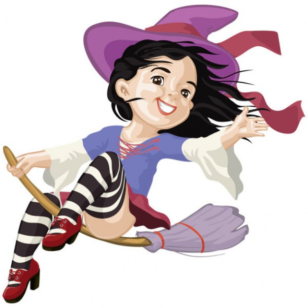 witch girl flying on a broom with purple dress