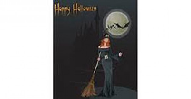 witch halloween with red hat and dark night background