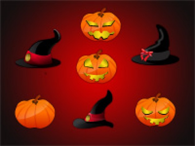 witch hats and pumkin heads with red and dark background