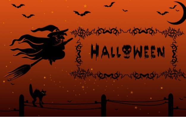witch with black hat flying over wires and a cat