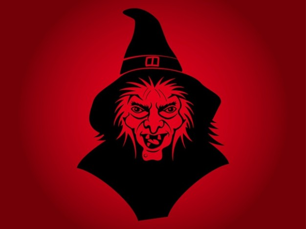 Witchcraft ugly Wicca face witch with black hat and red background about Holland New Forest