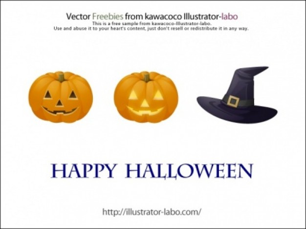 yellow pumpkin heads and black witch hat halloween elements