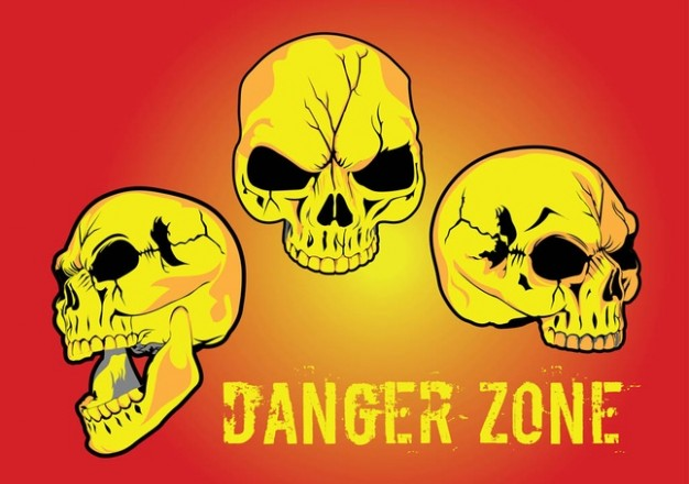 yellow skull for danger zone with red background