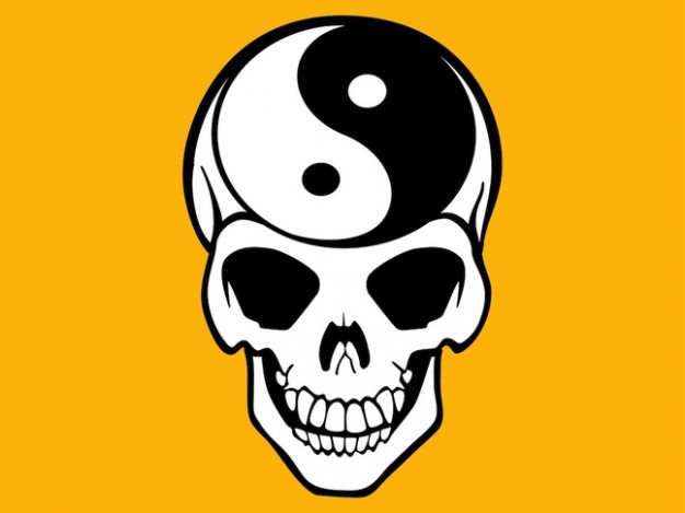 Yin-Yang duality Halloween yin yang skeleton with yellow background about Skull and Bones Race and e