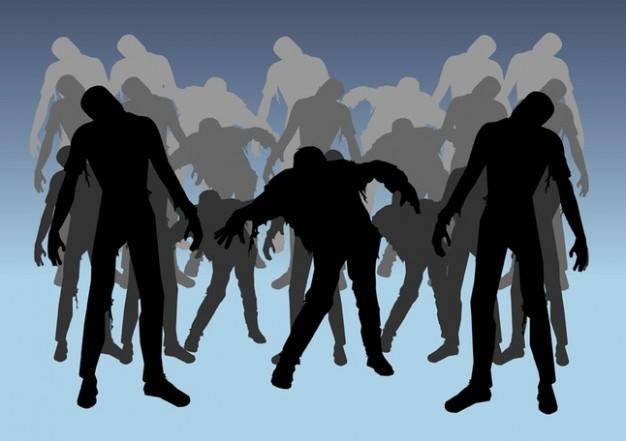 zombies silhouettes with blue background